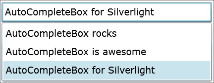 AutoCompleteBox for Silverlight