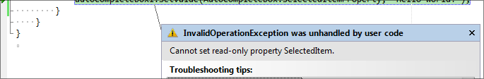 Sample exception message from before this design change.
