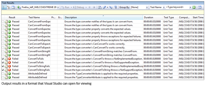 Output results in a format that Visual Studio can open for viewing.