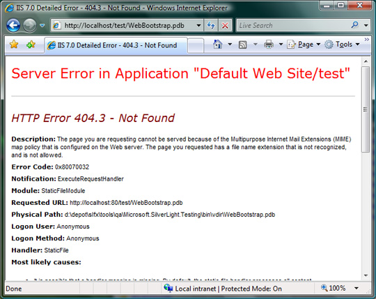 What you see when IIS denies a PDB file