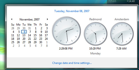 Multiple clocks in Windows Vista